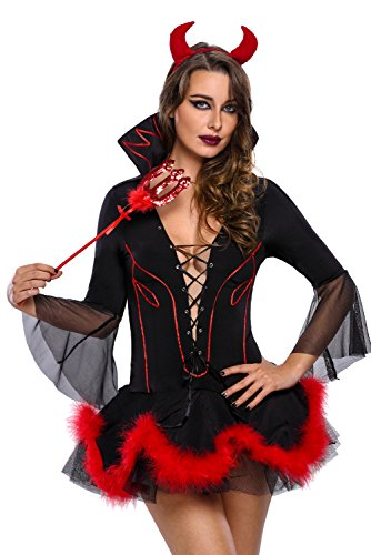 Frauen Sexy Miss Iblis Teufel Kostüm Halloween Erwachsene Party Fancy Cosplay Kostüm Lace Up V-Ausschnitt Minikleid