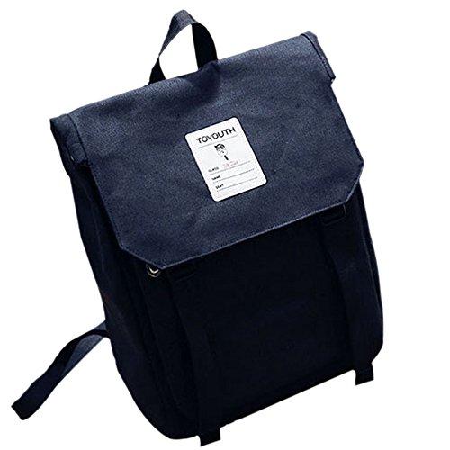 JUND Japanischer Stil Rucksack Frauen Einfarbig Leinwand Schultasche Mädchen Schule Backpack Mode Lässig Cityrucksack mit Klappe -