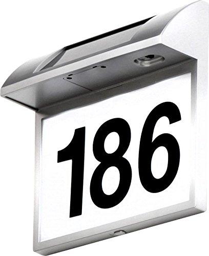 LED Solar Außen Wandleuchte mit Hausnummer Solar Leuchte (Wandlampe, Wandstrahler, Garten Lampe, inkl. Leuchtmittel 3 x 0,06 Watt, Hausnummern Leuchte für Außenbereich, IP44, Höhe 22,7 cm, inkl. Akku)