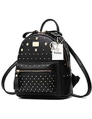 13325061ac590 Yoome Mini Leder Rucksack Geldbörse für Frauen Mädchen Nette Nieten Daypack  Schultasche