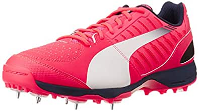 Puma Men's evoSPEED Cricket Spike 1.3 White and Pink Cricket Shoes - 11 UK /India(46EU)