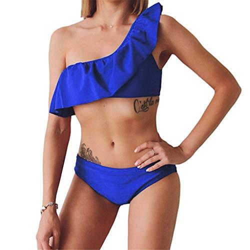f571d5cfb9f8 Dicomi Bikini Donne Estate Moda Sexy Una Spalla Balze Costume da Bagno  Push-up Reggiseno