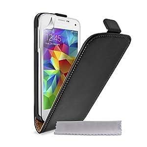 Caseflex Coque Samsung Galaxy S5 Mini Etui Noir Réel Véritable Cuir Clapet Housse