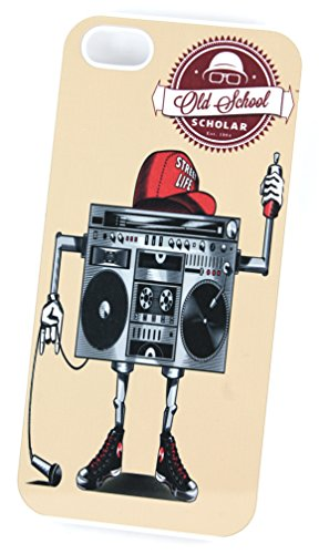 Old School Boombox Ghetto Blaster Robot (Housse/Etui rigide en plastique pour iPhone 4/4S Blanc
