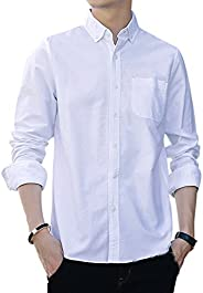 Cloudstyle Men's Solid Cotton Slim Fit Casual Long Sleeve S