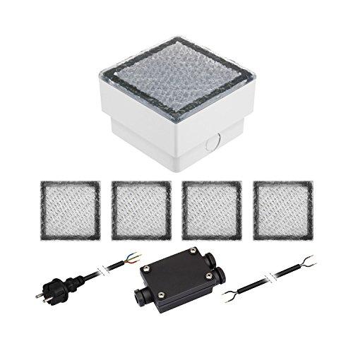 garten bodenleuchten parlat 5er-Set LED Pflasterstein CUS Bodenleuchte für außen, warm-weiß, IP67, 230V, 10x10cm