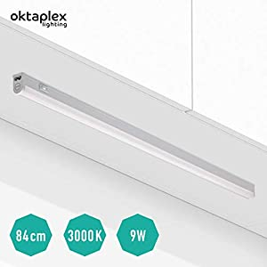 LED Unterbauleuchte Küche Riga 13 Watt | Warmweiß 3000 K mit Schalter | Küchenleuchte für 90 cm Schrank | Küchenunterbauleuchte Regal | Oktaplex Lighting