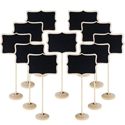 10 Stück Mini Tafel, kleine Spitze-Shaped Blackboard mit Ständer Message Board Card Label Tags Burly Holz Shaped Board
