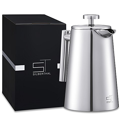 SILBERTHAL Kaffeebereiter | French Press | Teebereiter | Kaffee | thermoisolierte Pressfilterkanne | Edelstahl | 0,7 l | Kaffeefilter | 3-4 Tassen (Tasse Kaffee French Press)
