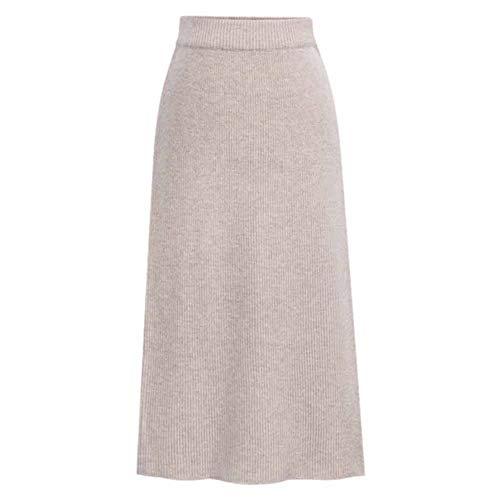 Damen Stricken Rock Mädchen Unter Dem Knielangen Hoch Taille Herbst Winter Röcke Beige XL -