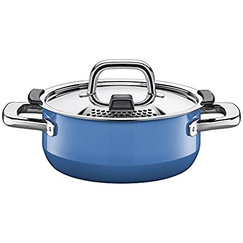 Silit pan Ø 20cm, approx. 2.4l, nature blue green. Metal control lid, made in Germany, Silargan® functional ceramic, suitable for induction hobs, dishwasher