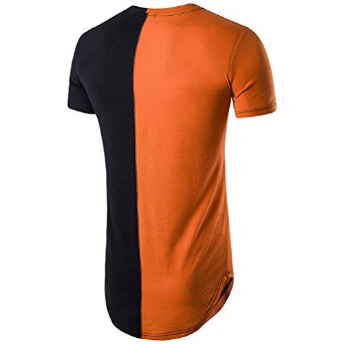 CHENGYANG Herren Stylische Lang T-Shirt Stitching Kurzarm Slim Fit T-shirt Bluse Orange