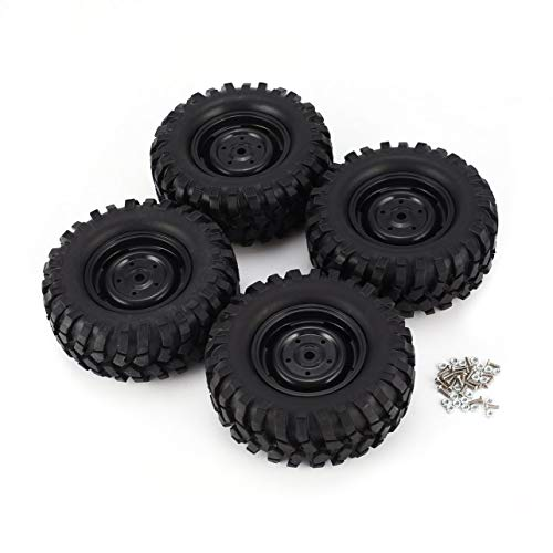 WOSOSYEYO Pneumatico in Gomma da 4 Pezzi 96 mm 1,9 Pollici con cerchione Beadlock per AXIAL SCX10 90046 RC4WD D90 1/10 RC Fuoristrada Car Craw