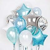 Erosion Packung mit 11 blauen und silbernen Konfetti-Ballons 18-Zoll-Foliensternen-Ballons Party Balloon Metallic-Latex-Ballons für Babyparty Geburtstag Hochzeit NYE Party Dekoration Versorgung