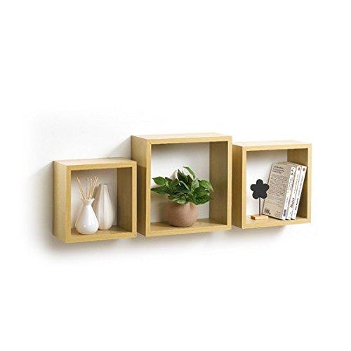 Modul'home 6ran789bc - mensole a cubo, in mdf, 11,8 x 30 x 30 cm, pannello mdf, quercia, 3 taglie 23 cm/26,5 cm/30 cm