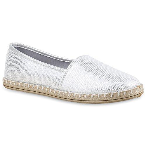 Damen Slipper Espadrilles Schuhe Flats Metallic Glitzer Slipper Silber