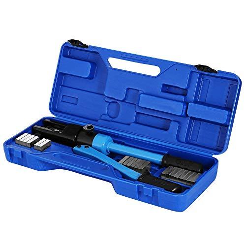 Mophorn Hydraulische Crimpzange 12T 11 Matrizen Hydraulische Crimpzange 6 AWG bis 600 MCM Crimppresse Box (300mm)