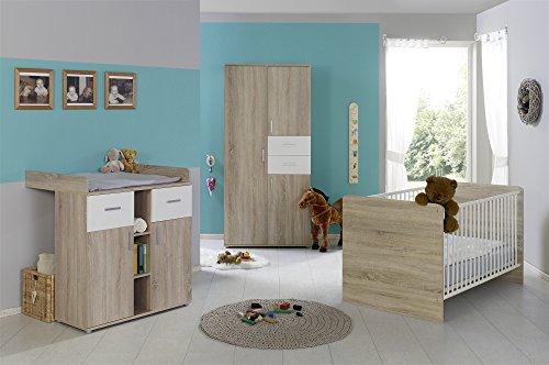 Babyzimmer Komplettset / Kinderzimmer komplett Set ELISA verschiedene Varianten in Eiche Sonoma / Weiß (ELISA 1)
