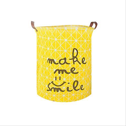 KWOSJYAL 50 * 40 cm Baumwolle Haushalt Faltbare Große Umweltfreundliche Wäschekorb Spielzeug Aufbewahrungsbox Schmutzige Kleidung Organizer Bin Stoff Tragbaren AblagekorbGelb (Gelb-stoff Bin)