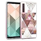 kwmobile Samsung Galaxy A9 (2018) Hülle - Handyhülle für Samsung Galaxy A9 (2018) - Handy Case in Glory Dreieck Muster Design Rosa Rosegold Weiß