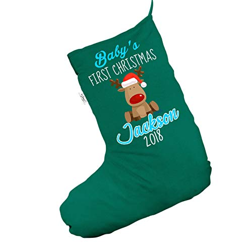 TWISTED ENVY Geschenktüte für Babys erstes Weihnachten, Motiv: Rentier, groß, Grün