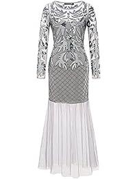 Amazon.it  vestiti anni 20 - Grigio   Vestiti   Donna  Abbigliamento 6836047cb04