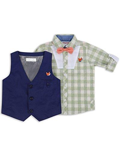 The Essential One - Baby Kinder Jungen - Hemd, Weste und Krawatte - 6-9 M - Marineblau - EOT265