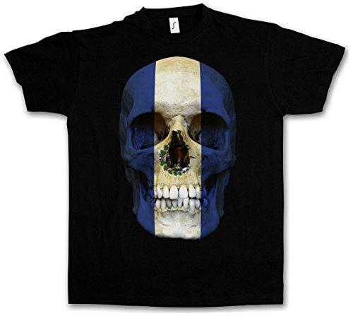 Urban Backwoods Classic El Salvador Skull Flag T-Shirt - Totenkopf Schädel Banner Fahne T-Shirt Größen S - 5XL (El Salvador Flag Tshirt)