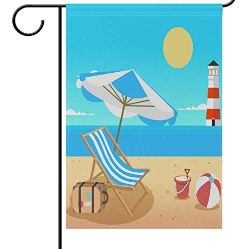 Summer Beach Lighthouse Garden Flag Banner, Umbrella Chair Ball Decorative Flags for Wedding Party Yard Home Outdoor Decor 12.5x18 inches -