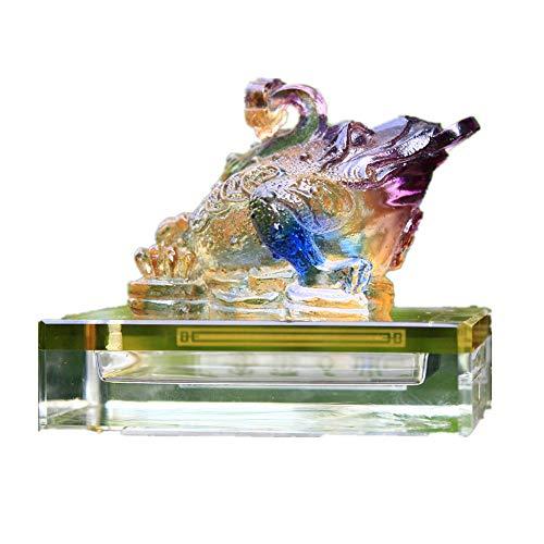 Feng Shui Geldfrosch mit Farbigem Glasur-Geldfrosch (Dreifeinkröte/Reichtum Frog) mit Wunschfigur fürs Auto, Glas, bunt