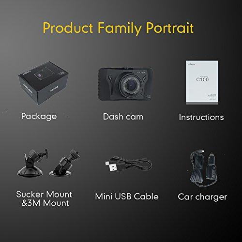 Mibao Dashcam Telecamera per Auto Dash Cam per Auto Camera Car 1080P con 3.0″ LCD, 170 Gradi, G-Sensor, WDR, 6 Glens, Rilevazione di Movimento, Registrazione in Loop,WDR - 8