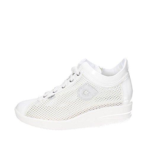 Agile by Rucoline Sneaker Wedge Moyen Élevé avec Zip Top chambres intérieures Art. 0226 82310 226 Souliers est blanc Femme Nouvelle Collection Printemps Eté 2016