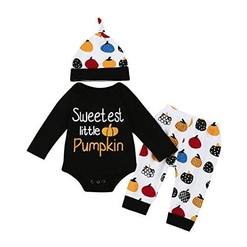 Overdose Neugeborene Säuglingsbaby Mädchen Jungen *My First Halloween *Pumpkin Romper Kürbis Spielanzug Top + Hosen + Hut Halloween Kleidung Satz (6-12 Monate, C-Black-Halloween)