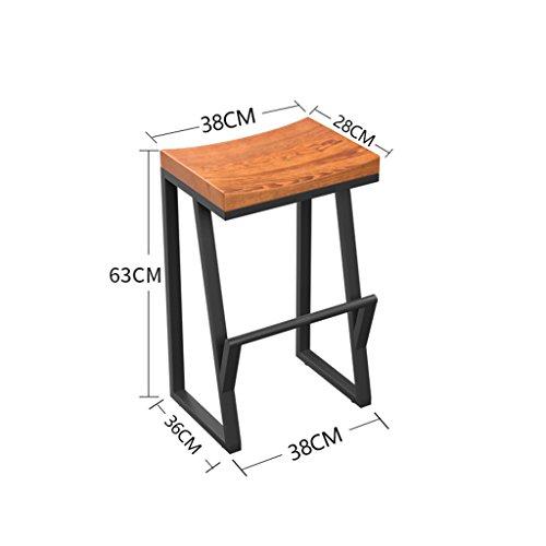 Zaixi Rétro Avec Repose-pieds Chaise De Bar Fer + Bois Créatif Tabouret Haut Loisir Bar Tabouret De Bar Chaise De Café ( taille : 36*38*63cm )