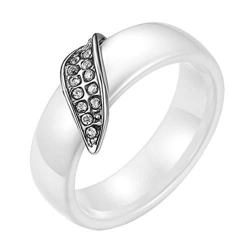 Flongo Damen-Ring Frauen Ring Keramik Ring, Edelstahl Porzellan Ring Damenring Band Strass Weiß Silber Blatt Hochzeit Wedding Engagement Eheringe Elegant für Damen Frauen