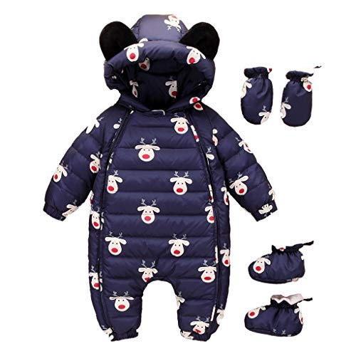 Amphia - (12M-24 Babykletterjacke + Handschuhe + Socken - Langarm-Hoodie-Overall Daunenjacke/Handschuhe / Socken - SetInfant Baby mit Kapuze Puffer Winter Schneeanzug Mantel Spielanzug