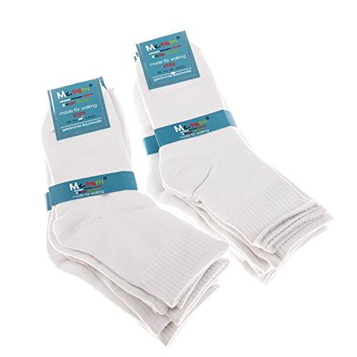 Mctam Jungen Mädchen Socken Herren Damen 12er Pack 90{4892c146d2b71f238a0de1d1cca753bc4e5c3df6c199e1b2988f6a8f9942a781} Baumwolle Mix Motiv, 27-30, 12x Weiß Quarter