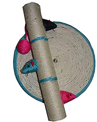 Deenz Round Cat Scratch Post Activity Pole Centre Climbing Play Sisal Scratcher Toy Cat Kitten Scratching Pole Post Tree Scratcher by DEENZ