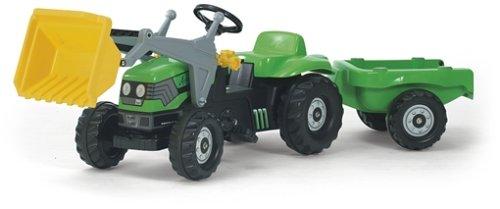 Deutz Trettraktor Rolly Toys 023196 rollyKid Deutz-Fahr | Trettraktor mit Frontlader und Anhänger | Traktor mit Motorhaube zum Öffnen und Überrollbügel | ab 2,5 Jahren | Farbe grün | TÜV/GS geprüft