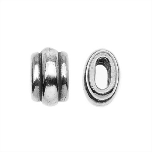 antiqued-silver-plated-lead-free-pewter-deco-barrel-slider-bead-10mm-pack-of-2
