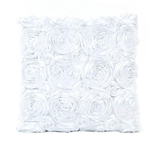 Indexp Rose Embroidery Throw Cushion Cover Sofa Home Decoration Pillow case (White)