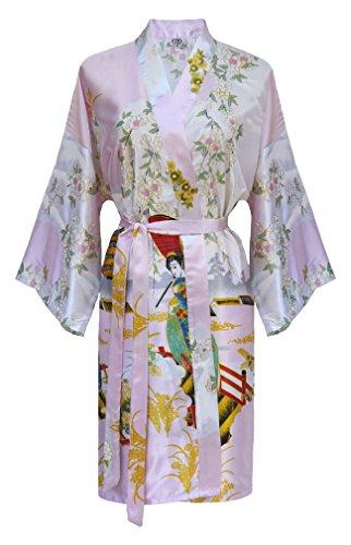 Kimono Mujer japonesa rosa - bata corta elegante satén