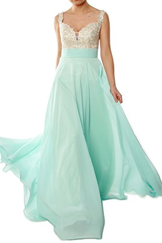 MACloth Gorgeous Long Prom Dress 2018 Straps Lace Chiffon Formal Evening Gown Vert - Menthe