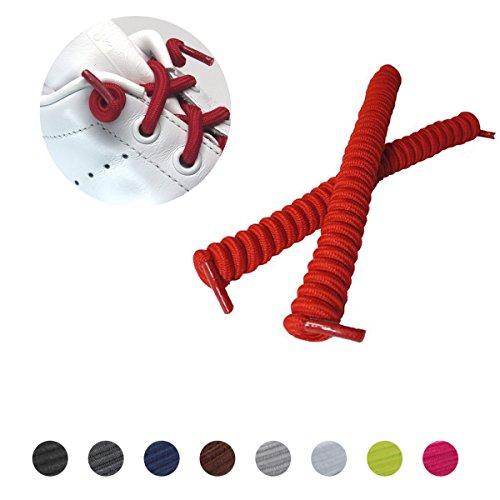 leazy Lockys Kids Spiralschnürsenkel - selbstbindende spiralförmige elastische Schnürsenkel für Kinder - (Einheitsgröße, Rot)