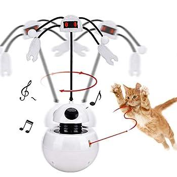 YGJT Jouet Interactifs Chat Culbuto Jouet Chasse-lumière Rotatif Automatique 2 en 1 Jouet de Plume interactif Pet Entertainment Intelligence Fun