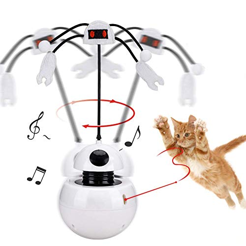 YGJT Interaktives Katzenspielzeug Becher 2 in 1 Auto Rotating Light Chaser Spielzeug Interaktives Federspielzeug Pet Entertainment Intelligence Fun