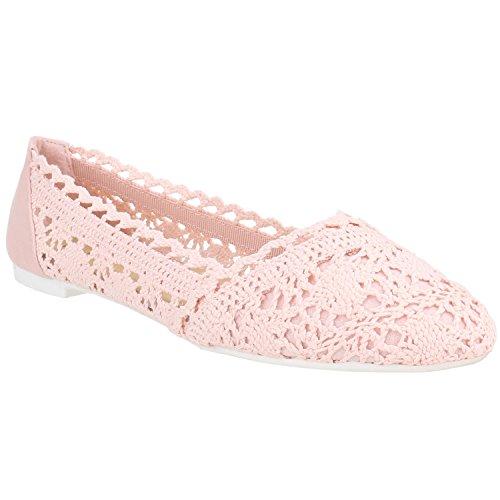 Damen Ballerinas Slipper Flache Spitze Häkeloptik Feminine Slip-Ons Stoff Strass Metallic Schuhe 136105 Rosa Rosa Weiss 39 Flandell
