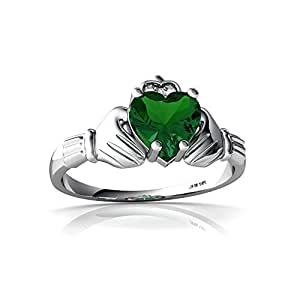 Created Emerald 14ct White Gold Celtic Claddagh Ring - Size R