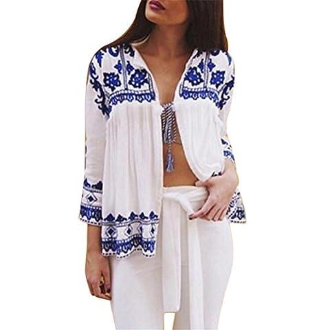 Frauen Strickjacke Langarmshirts,Moonuy Vintage Bluse Floral Loose Schal Kimono Boho Chiffon Top (M, Blau)