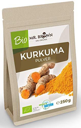 Mr. brown, bio curkuma 250 g di polvere indiana, spezie macinate per cucinare, da agricoltura biologica controllata